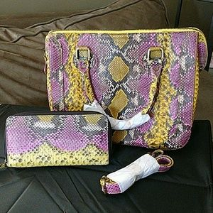 Genuine python matching bag and wallet
